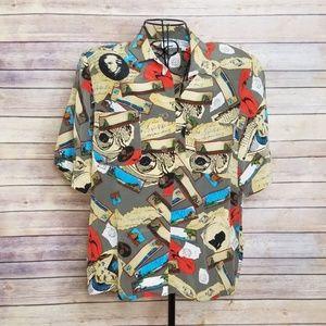 Vintage Oleg Cassini 10 World of Music silk blouse
